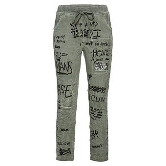 COSY Hose mit Schriftzügen, khaki
