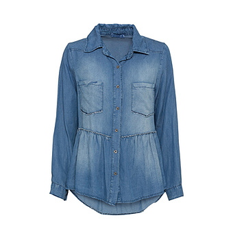 Bluse in Denim-Optik, light blue denim