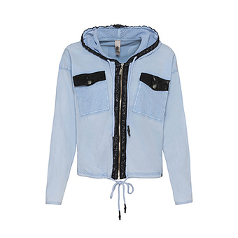 COSY Sweat-Jacke mit Veggie-Leder, eiskristall