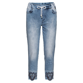 Schlupfjeans mit Stickerei, light blue