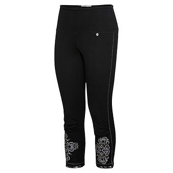 Baumwoll-Leggings mit Glitzerprint, schwarz