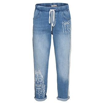 Schlupf-Jeans mit Print, blue denim