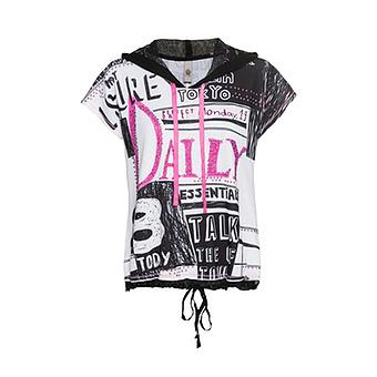 Shirt im Alloverprint, schwarz-weiß