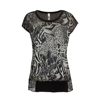 Shirt im Animal-Print, khaki