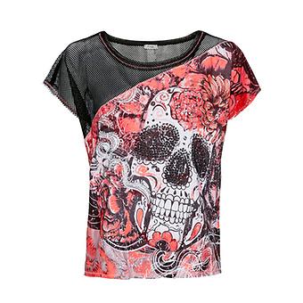 Print-Shirt mit Netz, neon lobster