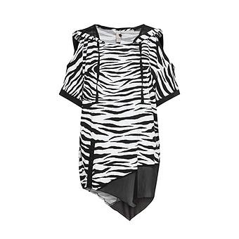 Bluse im Animal-Look, schwarz-weiß