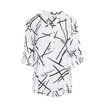 Boyfriend-Hemd mit Glitzerprint, weiß-schwarz