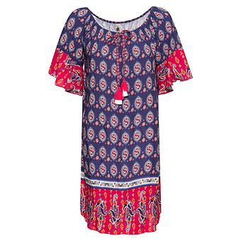 Kleid im Alloverprint, blau-pink