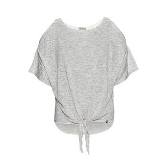 Shirt mit Häkelspitze, grau meliert