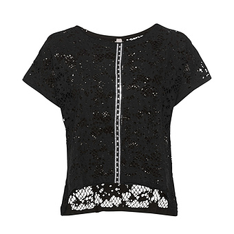 COSY Shirt mit Häkelspitze, schwarz