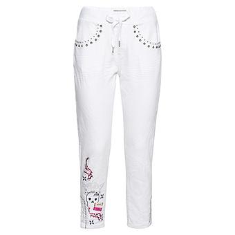 Schlupf-Jeans mit Print, weiß
