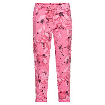 Hose im Floral-Print, pink glow