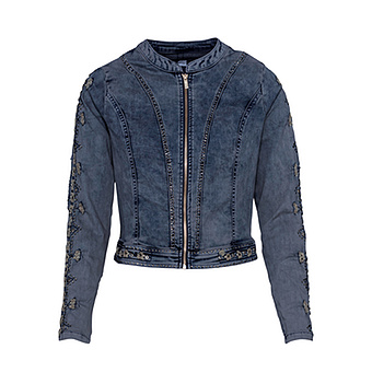 Jeansjacke mit Loch-Struktur, dark blue denim