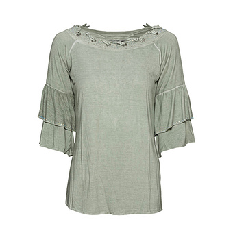 Shirt mit Häkelspitze, salbei