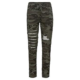 Hose in Camouflage-Optik, khaki