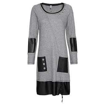 Kleid mit Veggie-Leder, grau meliert
