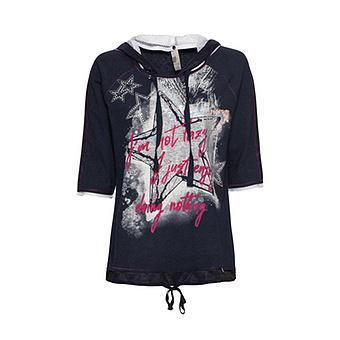 Shirt mit Lurexfäden, navy-melange