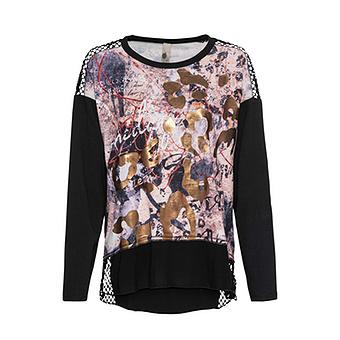 Shirt mit Netz, schwarz