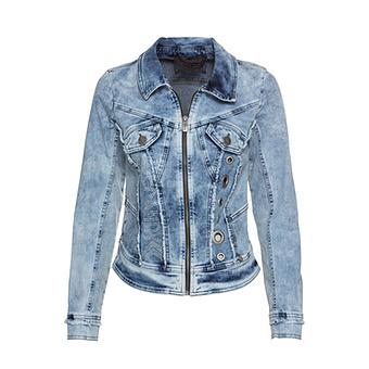 Jeansjacke mit Ziersteinen, bleached denim