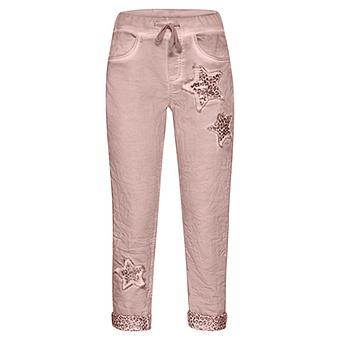 Schlupf-Jeans mit Animal-Stern, rosenholz