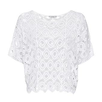 Oversize-Bluse in Häkeloptik, weiß
