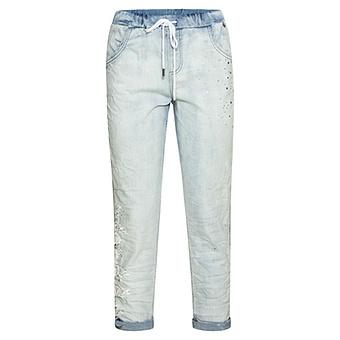 Schlupf-Jeans Blütenspitze 64cm, bleached denim