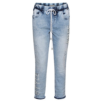Schlupf-Jeans mit Nieten, light blue denim