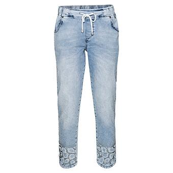 Schlupf-Jeans mit Animal-Design, bleached denim