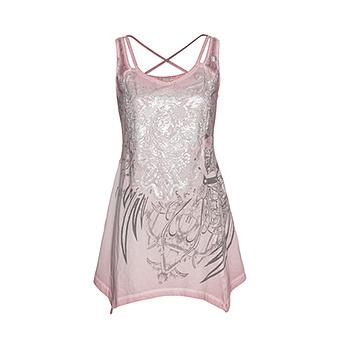 Top mit metallic-Print, pink salt
