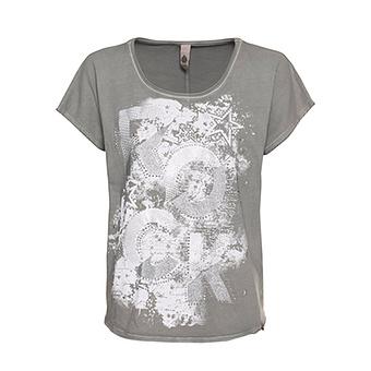 Shirt mit Front-Print, pepper