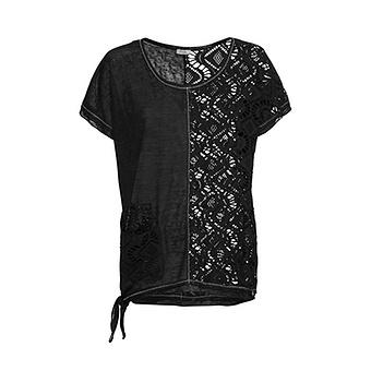 Shirt mit Loch-Optik, schwarz