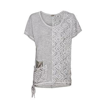 Shirt mit Loch-Optik, silber
