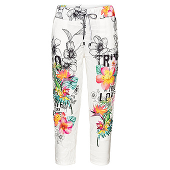 Pant mit Floral-Print, offwhite