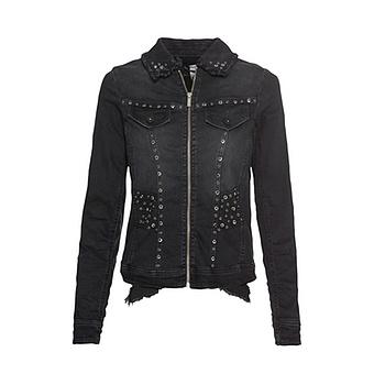 Jeansjacke mit Flügel-Design, black denim