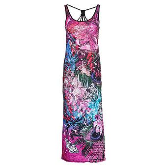 Maxi-Kleid mit Metallic-Print, lilac/ pink/ ocean