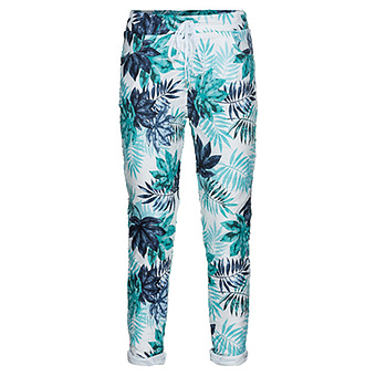 Hose mit Floral-Print, blau/ ocean