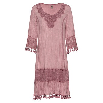 Kleid mit Häkelspitze, pink salt