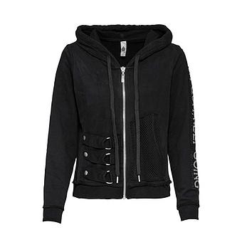 Sweat-Jacke mit Ziersteinen, schwarz