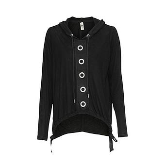Shirt mit Ösen, schwarz