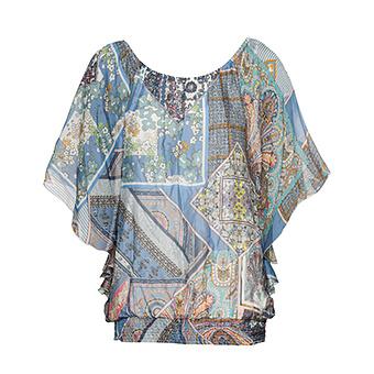 Bluse im Fledermaus-Schnitt, blau