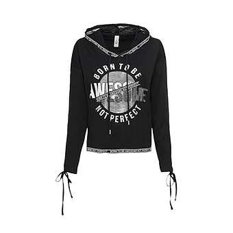 Shirt mit metallic-Print, schwarz