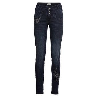 Sweat-Jeans mit Doppelbund, black blue denim