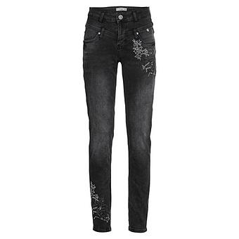 Sweat-Jeans Doppelbund Stern-Design, black denim