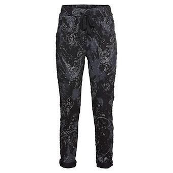 Hose mit Glitzerprint, schwarz