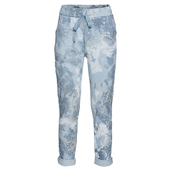 Hose mit Glitzerprint, jeansblau