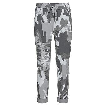 Joggpant in Camouflage-Optik, grau