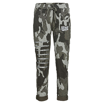 Joggpant in Camouflage-Optik, khaki