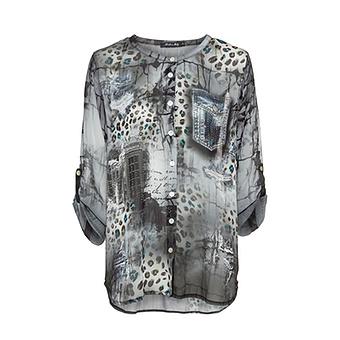 Bluse mit Animal-Print, grau