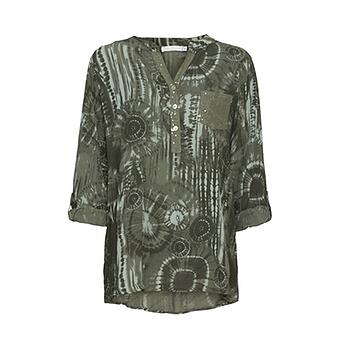 Bluse in Batik-Optik, khaki