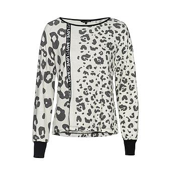 Strickshirt im Animal-Look, offwhite